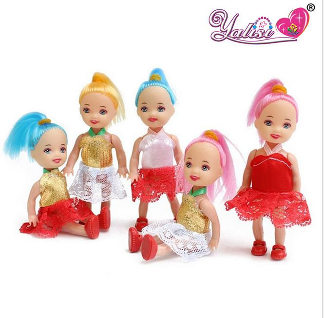 2pcs10cm Confused doll gift mini girl dolls kelly Fashion Popular dolls plastic girl gift dolls toys Free shipping(China (Mainland))