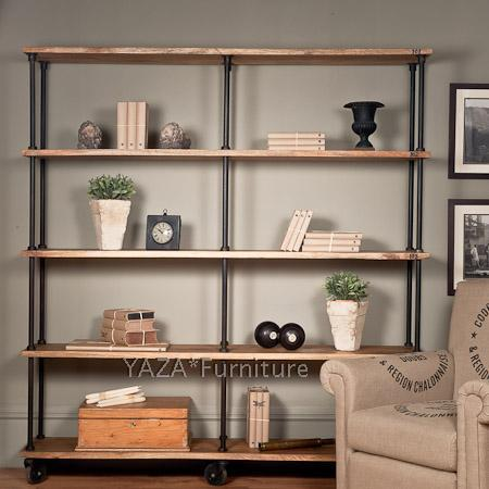 Promotions retro style wood industry to do the old wrought iron bookcase shelves creative old pine wood bookcase still Specials(China (Mainland))