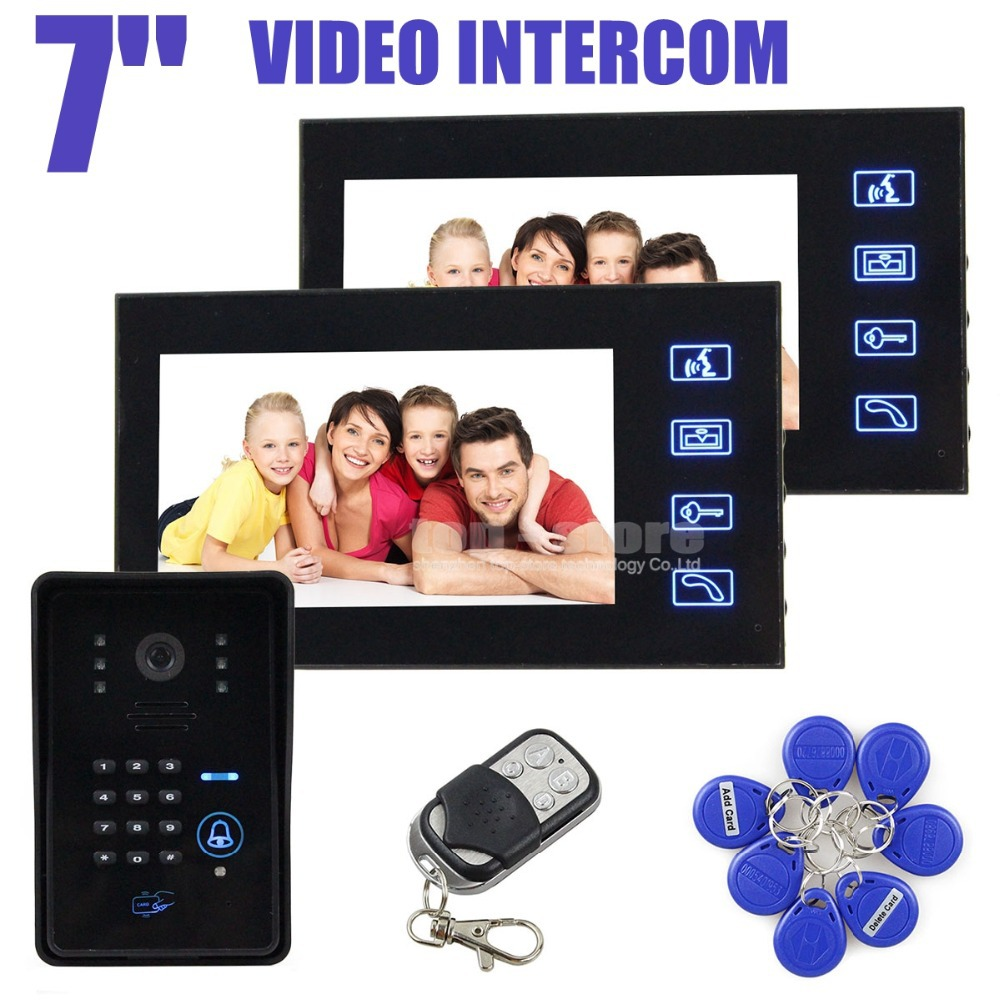 4 in 1 IR Camera 7inch LCD Video Doorbell Door Phone Intercom System With Code Keypad RFID Reader Remote Control 1V2(China (Mainland))