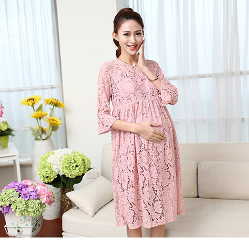 2016 summer style new fashionable maternity clothes cute pink lace dress five sleeve long loose elegant pregnancy dresses(China (Mainland))