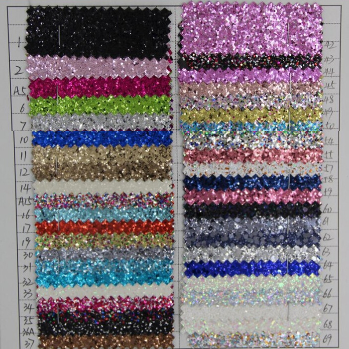 fabric glitter material/ Expose chunky glitter surface knitted backing/ glitter fabric for shoe/ pvc material/ synthetic leather(China (Mainland))