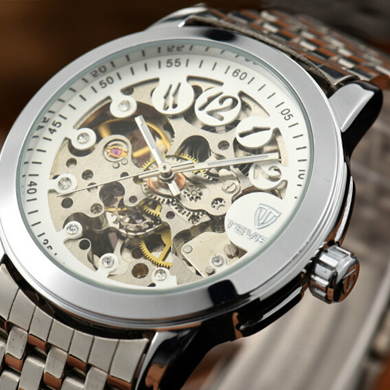 fashion luxury watch Brand Relogio Masculino Skeleton Mechanical Watches Stainless Steel Strap Male Clock Men best gift <br><br>Aliexpress