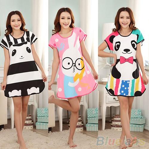 Great Cute Women's Cartoon Polka Dot Sleepwear Pajamas Short Sleeve Sleepshirt