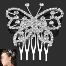 Gorgeous Shining Silver Tone Rhinestone Crystal Butterfly Hair Comb Pin Clip(China (Mainland))