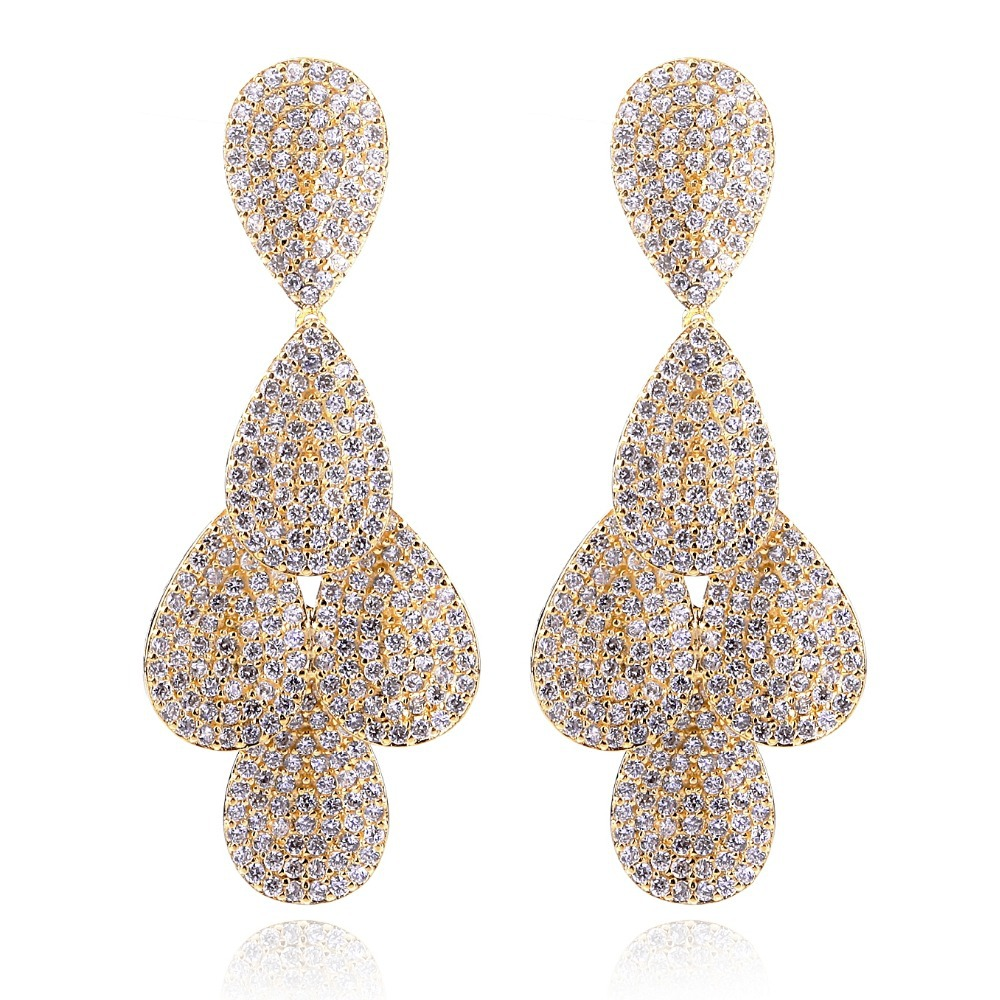 Fashion Secret Luxury 18K Gold Plated Women Earrings AAA Cubic Zircon Setting 570 Pieces CZ Allergy Free Vintage Jewelry No Lead(China (Mainland))
