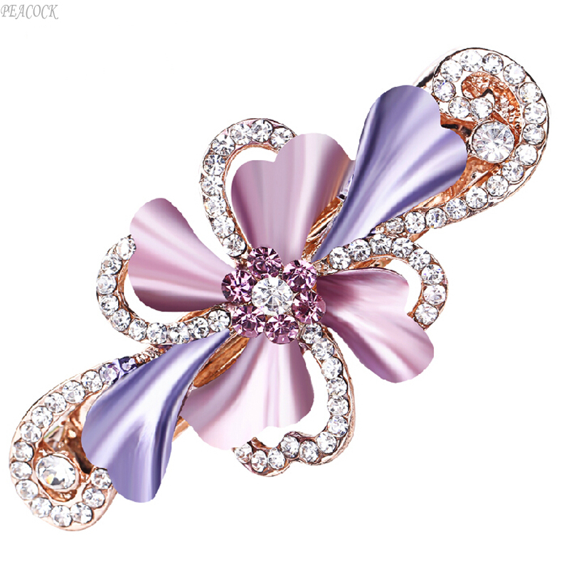 Bowknot Hairpin Wedding Accessories Rhinestone Flower Type Spring Hair Pins Ponytail Hair Clip FREE SHIPPING Head Jewelry(China (Mainland))
