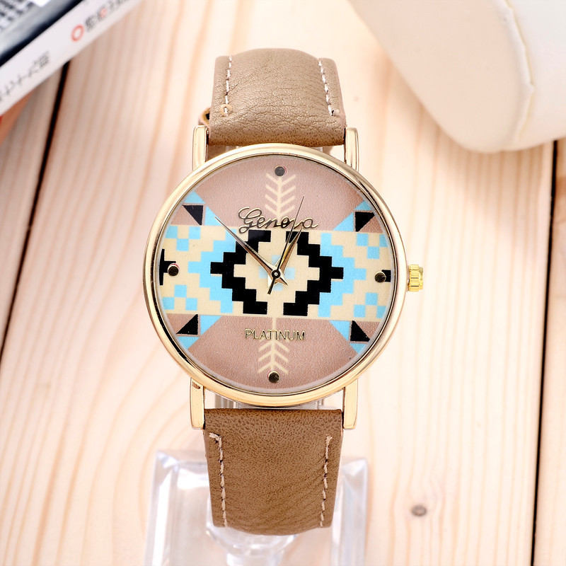 stylish optimum Clock Brand Geneva Watch Women Popular Quartz Watch Wheat jigsaw Dress Watch Relogio Feminino Graffiti Watch(China (Mainland))