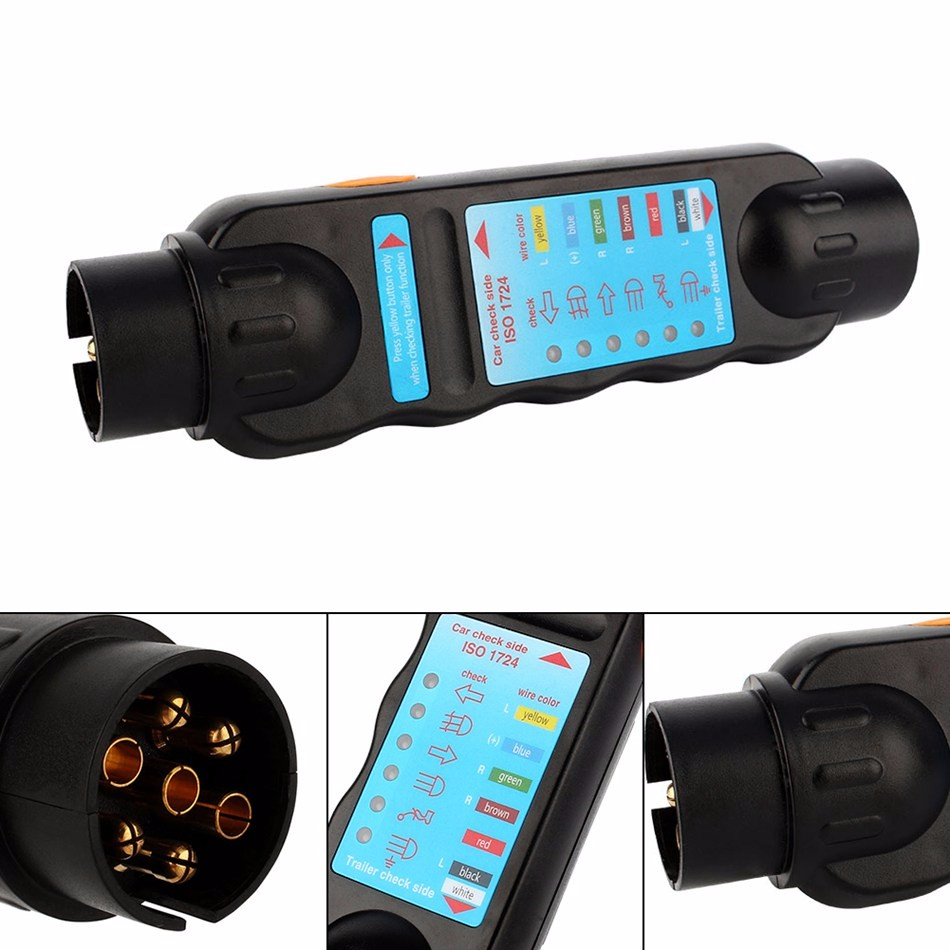 Car-Styling New Arrival 7 Pin Car Truck Trailer Plug Socket Tester Wiring Circuit Light Test Tool Diagnostic Tools Black
