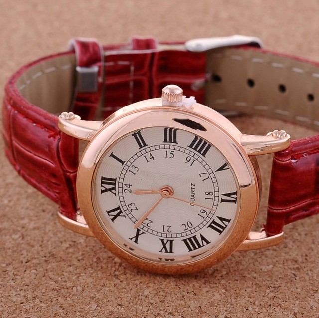 JW141 Fashion Women Luxury Rome Style Leather Strap Wrist Watch  Dress Clock 4 Colors .