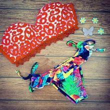 Sexy Women Lace floral print  Bandage Push-up Bikini Set Bra Swimsuit High Waist Swimwear