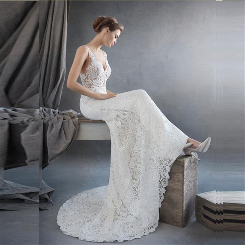 Charming 2016 New Sexy Backless White Straps V Neck Lace Mermaid Wedding Dresses Bridal Gown