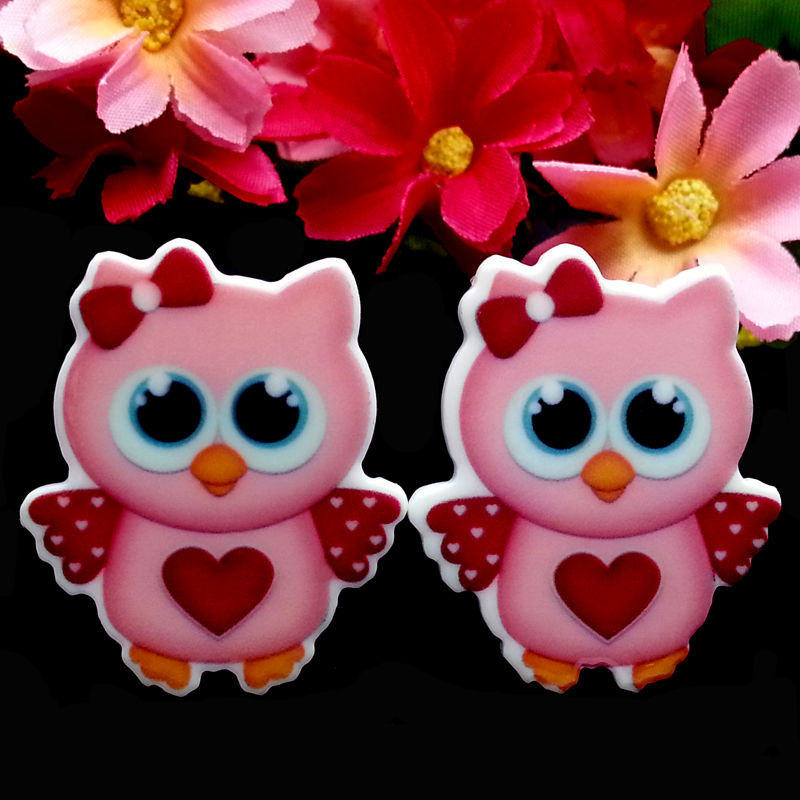 40pcs/Lot 37x31MM Cute Hot Pink Heart Owl Planar Resin Flatback Cabochon Cup Cake Toppers Flat Back Hair Bow Center(China (Mainland))