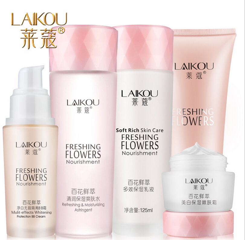 5pcs/lot Flower Essence Skin Care Set Moisture Anti-wrinkle Repair Cleaner+Toner+Essence+Cream+Foundation to Base Skin Makeup(China (Mainland))