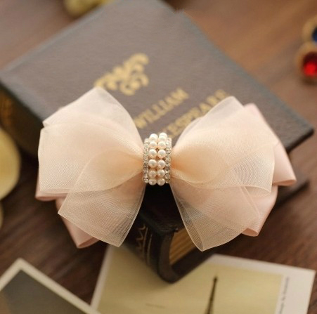 Pink Pearl Girls Bowknot Lace Hair Haar Accessories 2016 Headband Spring Clip Kids Acessorio Para Cabelo For Women Fascinator(China (Mainland))