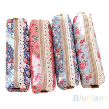 Fashion Mini Retro Flower Floral Lace Pencil Shape Pen Case Cosmetic Makeup Make Up Bag Zipper Pouch Purse 02OK