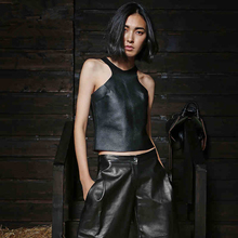 Genuine Leather  Women's leather jacket  Sexy  Slim  Short paragraph  Vest DXY42(China (Mainland))