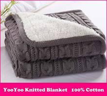 Livraison gratuite couverture tricotée / coton tricoté jet avec Lininng Super douce et chaude couverture couverture Double câble tricot, 120 * 180 cm(China (Mainland))