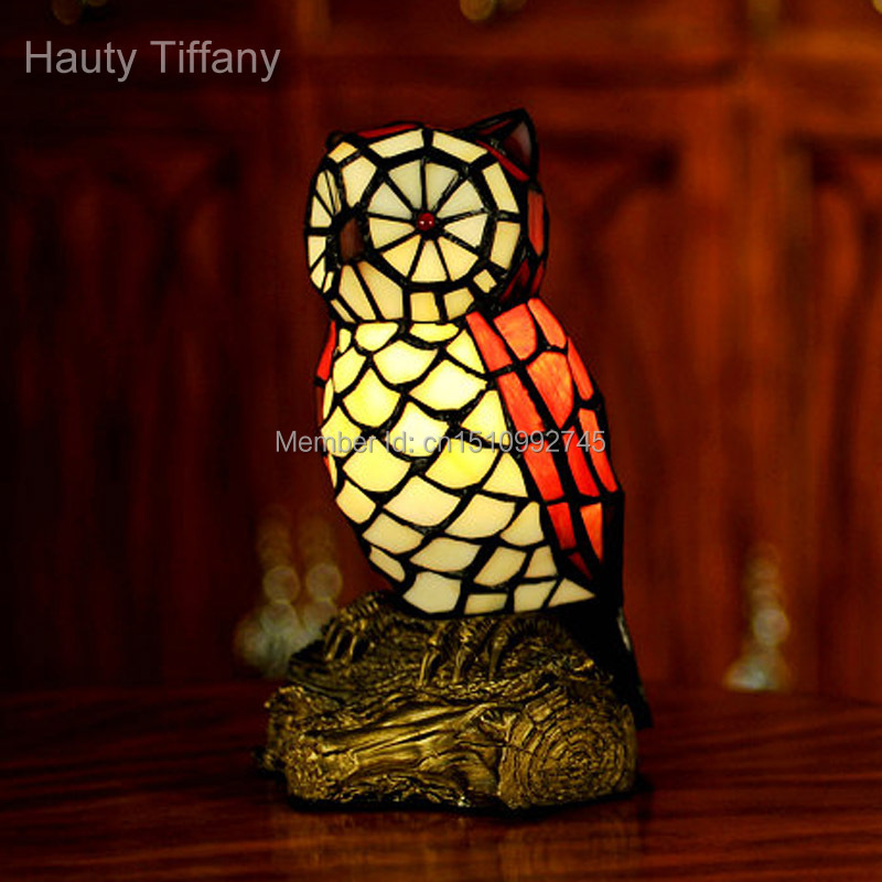 Antique Tiffany Glass Lamp Owl Table Lamp Night Light Novelty Animal Crafts Unique Home Decor ...