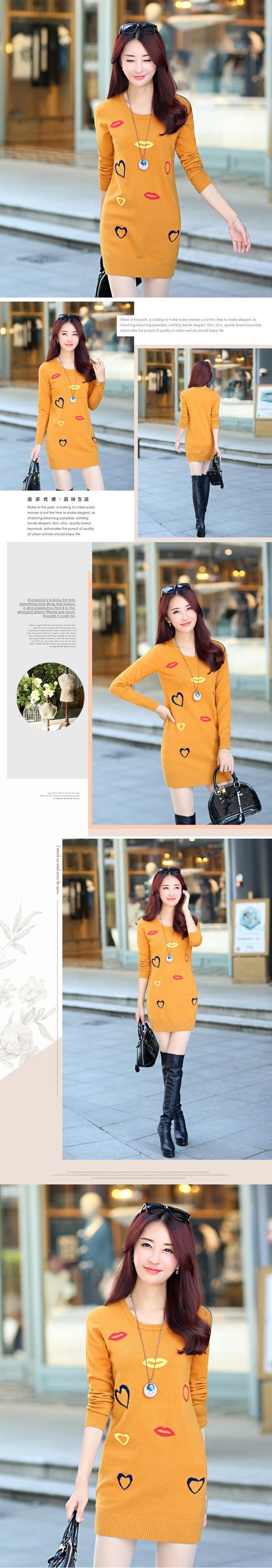 Medium Long Sweater Set head 2016 Latest Fashion Women Winter fall Temperament Leisure Thicken Keep Warm Round collar Knit G1011