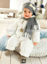 1 set  Baby boys girls Winter clothing sets Warm wear,kids hooded cotton-padded jackets+overalls 2pcs set,children down suits(China (Mainland))