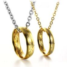 Мода Ювелирные Изделия Нержавеющей Стали 316L Titanium Ожерелье LOTR Серебряный и Золотой цвет Цепь(China (Mainland))