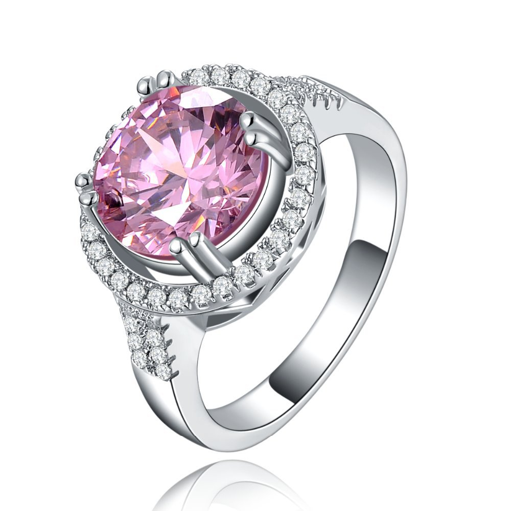 Pink CZ diamond Cocktail Rings White gold plated Round Wedding bags For Women engagement jewelry for female Free shipping MYR115(China (Mainland))