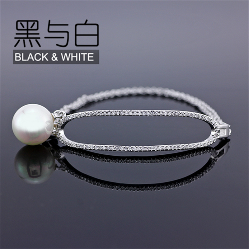 2016 Fashion Simple Design Gold Plated Jewelry Luxury Wristband Cuff Open Simulated Pearl Bangle pulseira Women Gift(China (Mainland))