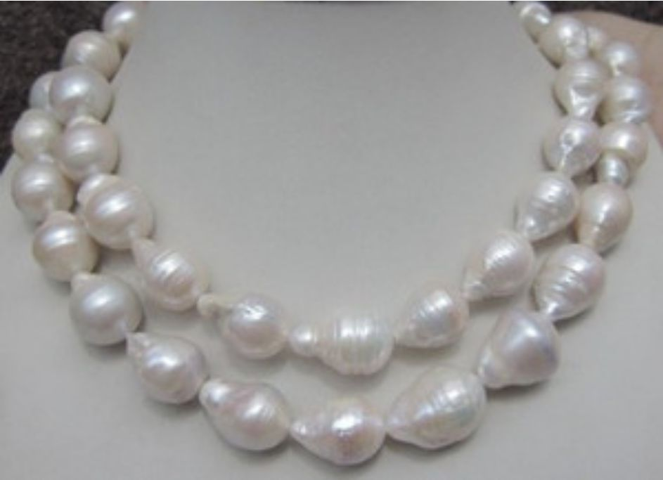 Jew3145 HUGE 12-18MM NATURAL AAA SOUTH SEA WHITE BAROQUE PEARL NECKLACE 35 INCH<br><br>Aliexpress
