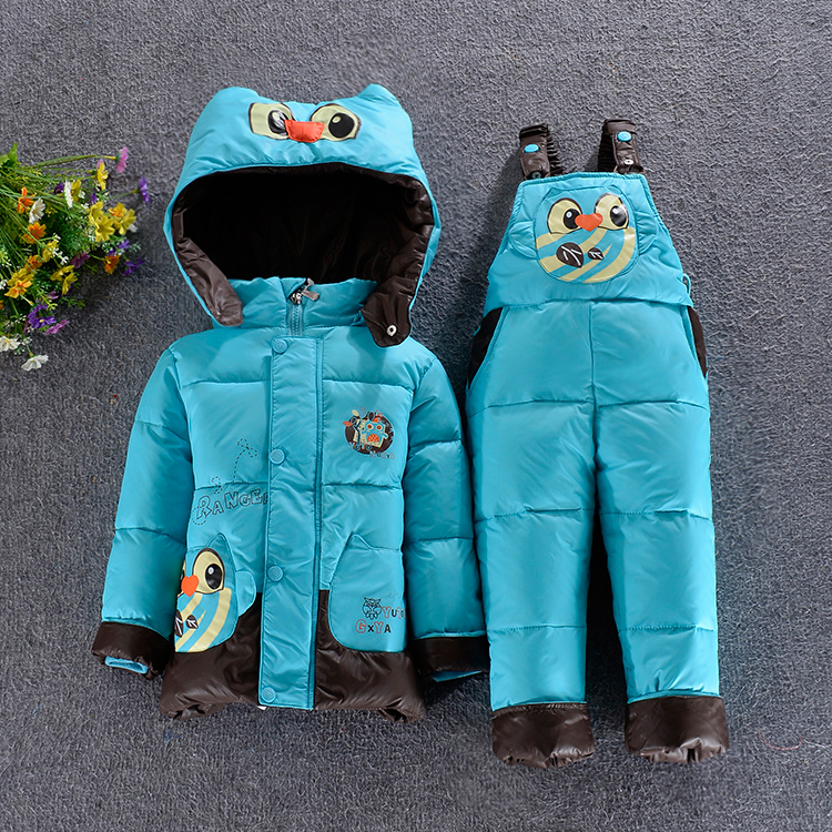 Top quality Baby Kids Down Coat Set male female children down jacket + Suspenders Fashion winter outer wear children's clothing(China (Mainland))