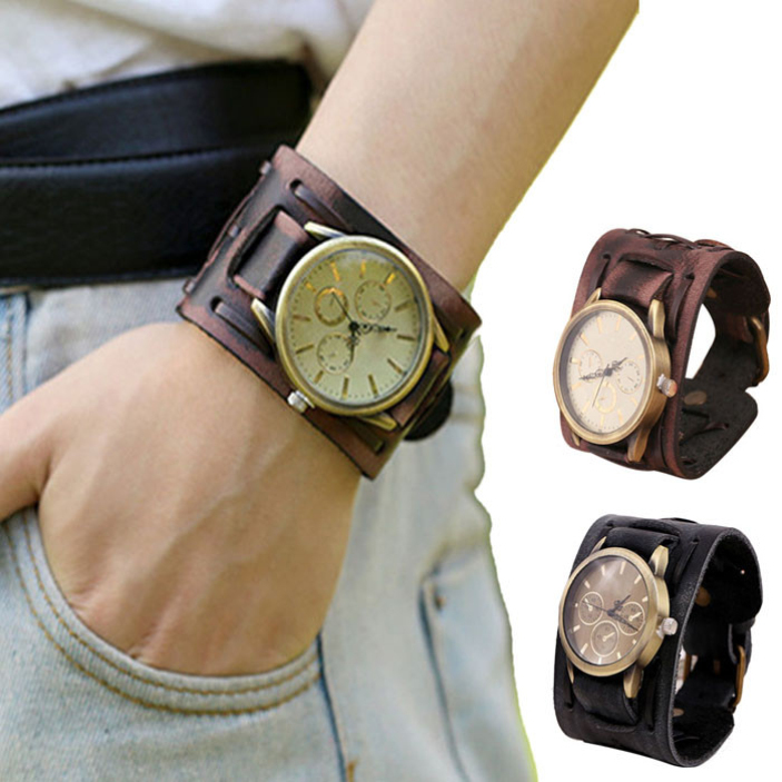 Splendid summer style New Style Retro Punk Rock Brown Big Wide Leather Bracelet Cuff Men Watch