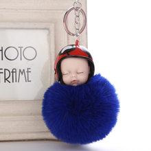 Moda Capacete Macio Bonito Do Bebê Boneca Chaveiro Chave Titular Chaveiro Nova Chave Do Carro Cadeia Saco Das Mulheres de Pele de Coelho Pompom Encantos pingente(China)