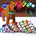 LED Dog Collar Nylon Plaid Flash Safety Luminous For Dogs Cats 7 Colors Small Large Breed