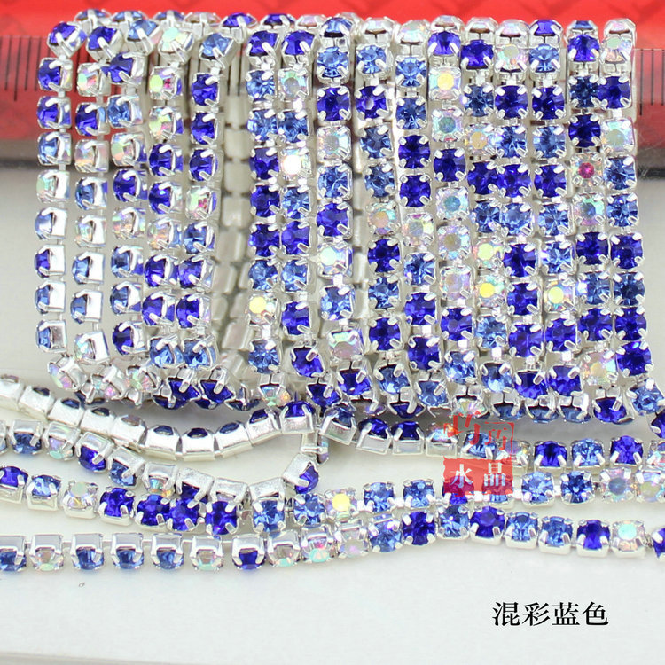 2015 TOP Hot sale Factory direct mixed color blue rhinestone tight grip drill mobile beauty accessories chain claw chain diamond(China (Mainland))