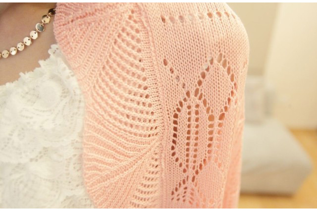 Free Shipping 2015 Hot Women s Attractive Slimming Solid Hollowed Dolman Sleeve Knitted Crochet Cardigan Outwear