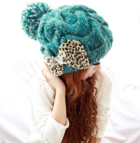 Green Knitted Women Beanie Hat Leopard Bow Handmade Crochet Pattern Hats Big Ball Beanie Cap Earflap Winter Keep Warm Cap CP102(China (Mainland))