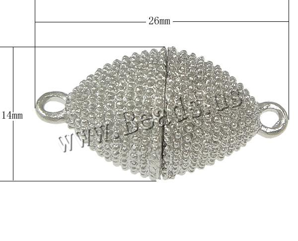 Free shipping!!!Zinc Alloy Magnetic Clasp,Jewelry 2014 Fashion, Oval, platinum color plated, nickel, lead & cadmium free