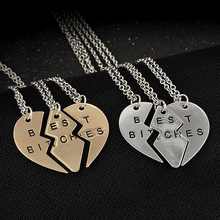 "New Hot ""Best Bitches"" Letter Splice Together Heart Pendant Chain Necklace Women Girls Sister Friendship Gifts 3 Pcs\set(China (Mainland))"