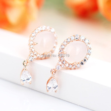 E125493 New elegant white crystal pink oval opal earring zinc alloy rose gold color with Austria crystal fashion lady jewelry(China (Mainland))