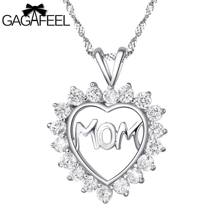 Love Mom Heart 100% 925 Sterling Silver Fashion Women Jewelry Pendants fit Necklaces Thanksgiving Gifts LTP039 - Gagafeel Factory Co., Ltd store