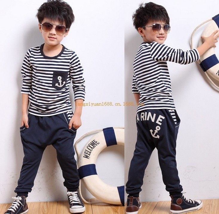 Гаджет  2014 New Hot Sale baby boy clothes sets cotton words long sleeve shirt+pants sports clothing sets for 3-7years boys conjuntos None Детские товары