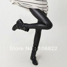 Black S-L Sexy Women Imitation Leather Stretch High Waisted Legging Pants Skinny(China (Mainland))