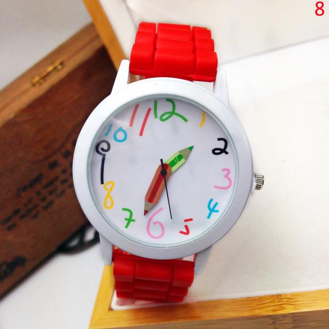 Zegarek dziecięcy kredki wskazówki kolorowe cyferki różne