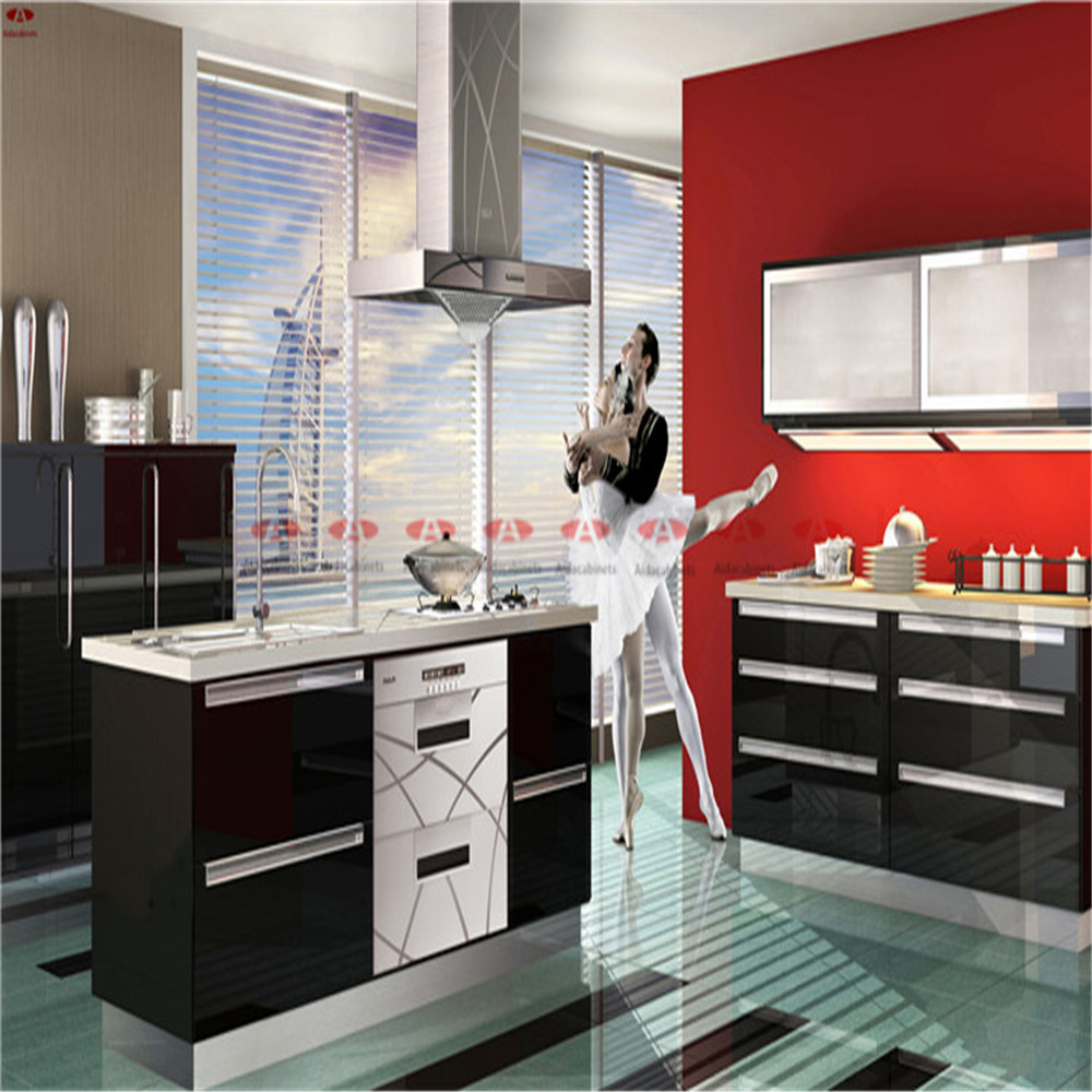 High gloss black stainless steel commercial kitchen cabinets for hotel(China (Mainland))