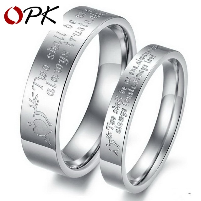 OPK JEWELRY 316L Stainless Steel Rings Circle Shiny  Wedding Rings (silver color for famale,white for male)