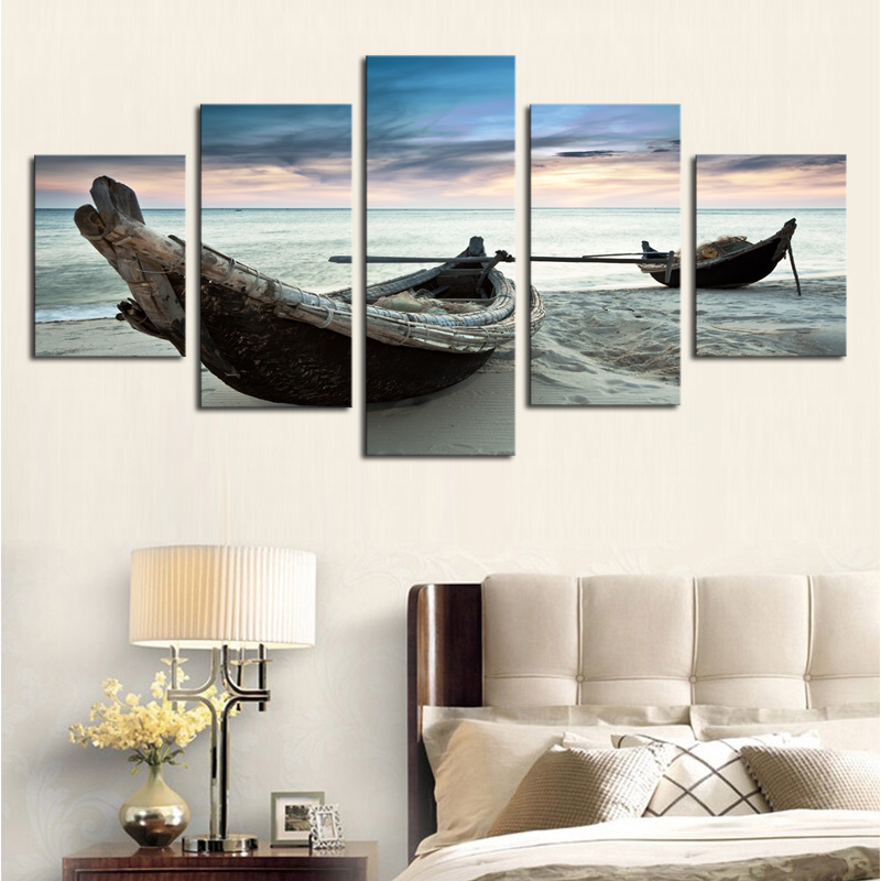Unframed 5 piece the ocean ship seascape modern home wall for Ship decor home
