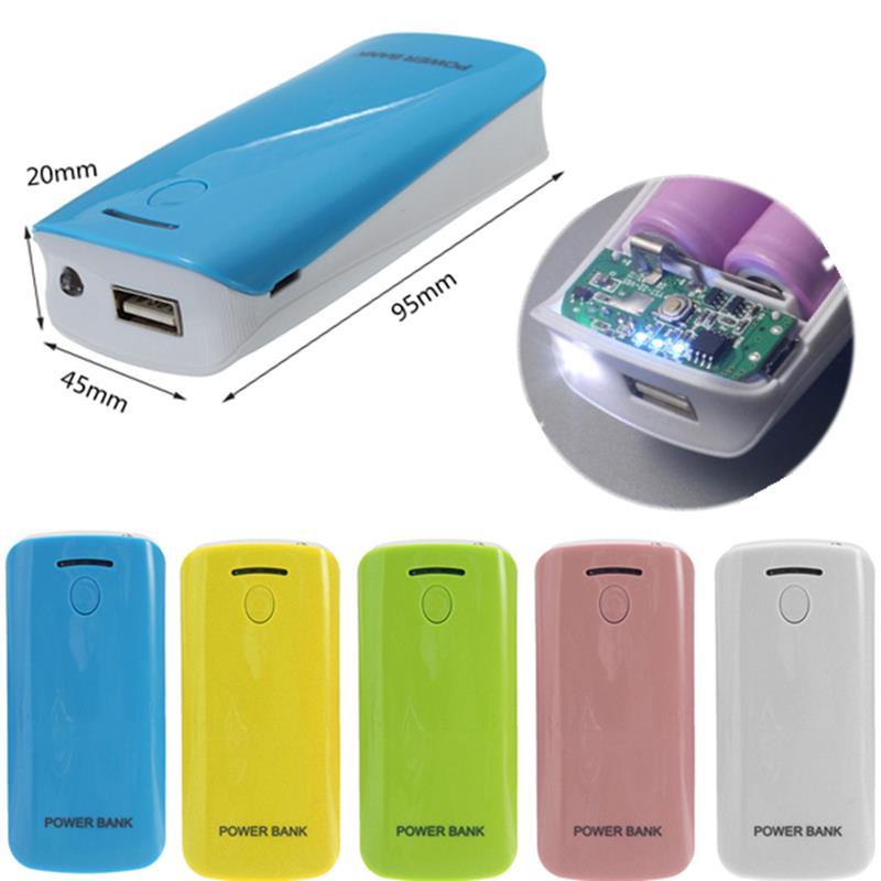 Universal LED USB 5V 5600 mah Power Bank Case Kit DIY Cell Box 2×18650 Portable External Battery Charger Backup Shell for Phones