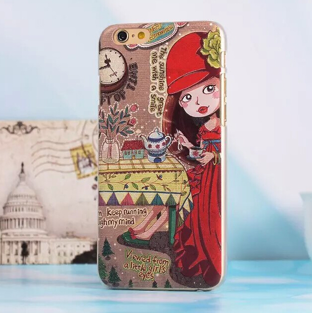 Cute 3D Emboss Cartoon Girl Case Cover For Apple iPhone 6 Case Retro 6 Series Vintage Case For Phone(China (Mainland))