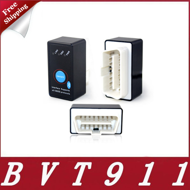 2015 Free Ship Mini Bluetooth ELM327 OBD2 CAN-BUS Diagnostic Scanner With Power Switch Works on Android Symbian Windows ELM 327(China (Mainland))