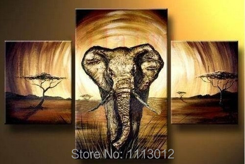 Hand Painted Modern Abstract Oil Painting Large Elephant Wall Art Canvas Set 3 Panel Home Decoration Art Picture For Living Room