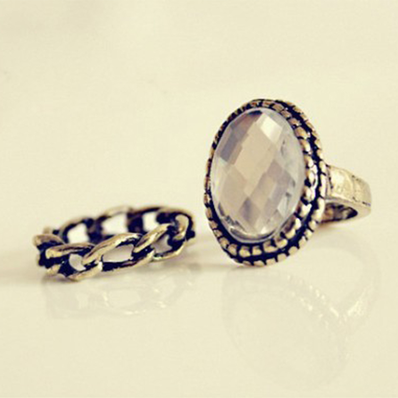 2Pcs/Set Fashion Top Of Finger Over The Gem Finger Rings The Knuckle Open Ring HR049(China (Mainland))